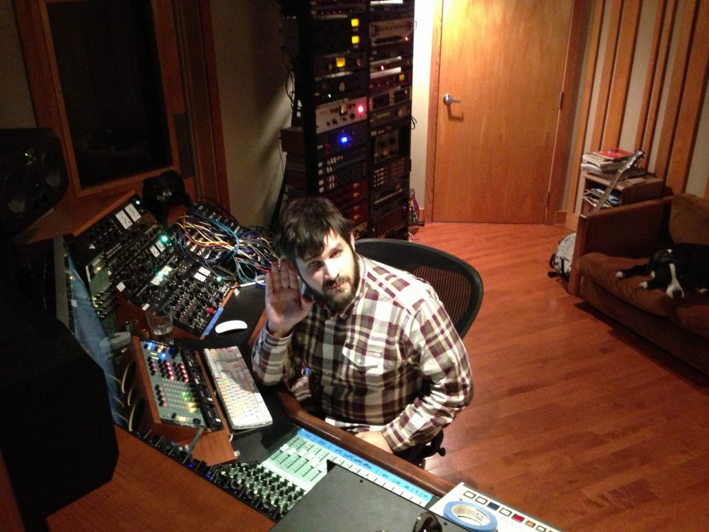 Kurt Ballou listens to mixes at God City
