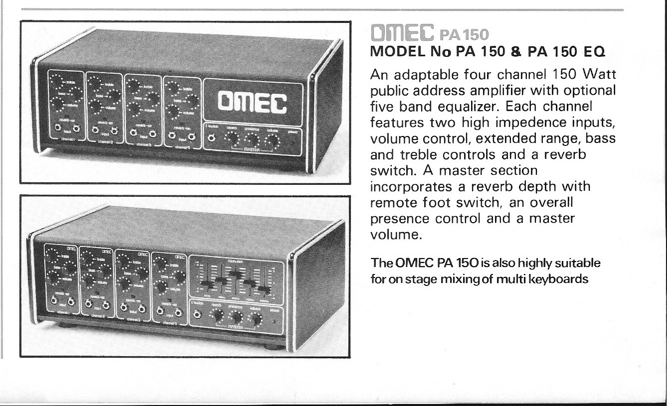 1977 Omec Amplifiers And Cabinets Orange Amps Audio Circuits July 2009 Amplifier Circuit Equalizer Mixer 150 Watt 4 Channel Pa Amp With 5 Band Graphic Eq